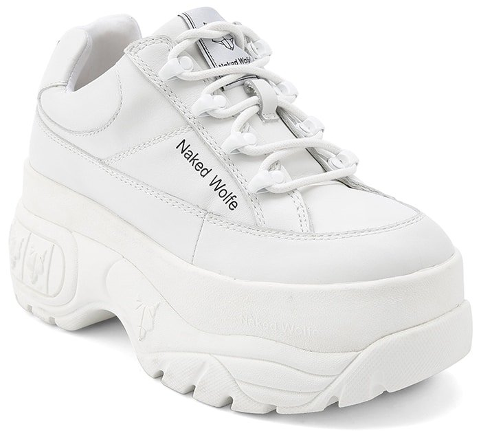 Naked Wolfe Sporty White Leather Chunky Shoes