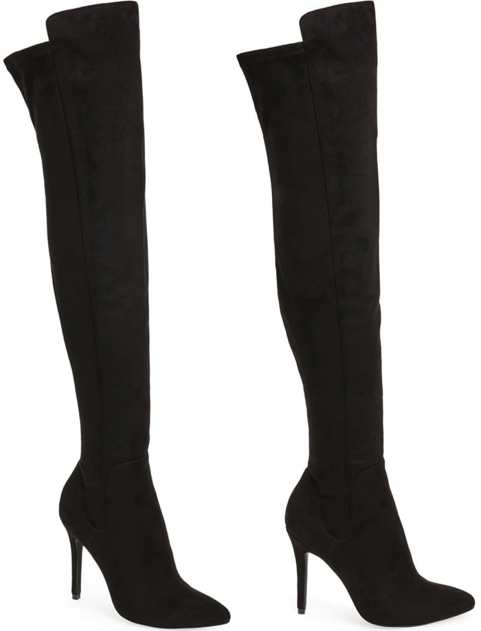 Heighten the drama of your date-night look with this suave over-the-knee boot complete with a pointy toe and stiletto heel