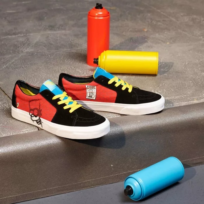The Simpsons x Vans Sk8-Low combines the takedown of the legendary Vans high top with El Barto's infamous graffiti