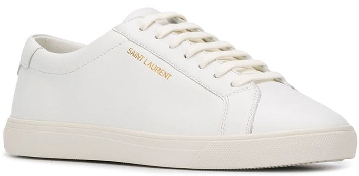 Sleek optic white leather sneakers with elegantly understated logos on the side and heel