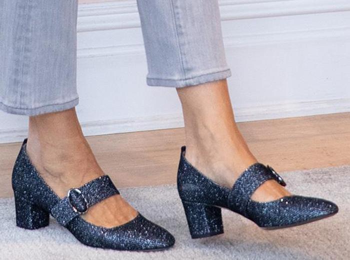 Sarah Jessica Parker slips into a pair of SJP Tartt glitter pumps