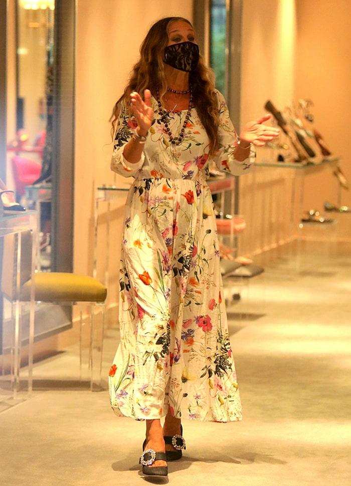 Sarah Jessica Parker looks boho-chic in Sonnet James floral maxi dress