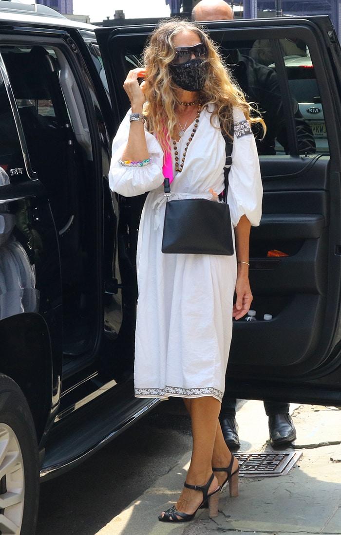 Sarah Jessica Parker in a bohemian white midi dress