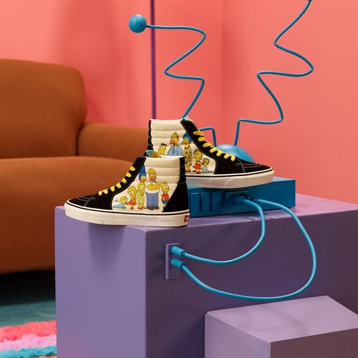 Legendary Vans lace-up high top with two Simpson family portraits: one representing the characters' first appearance in 1987, and one depicting them today
