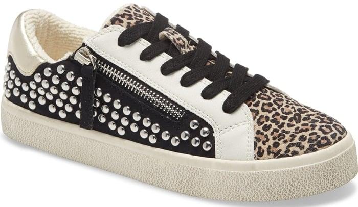 Steve Madden Parka Studded Sneakers Leopard