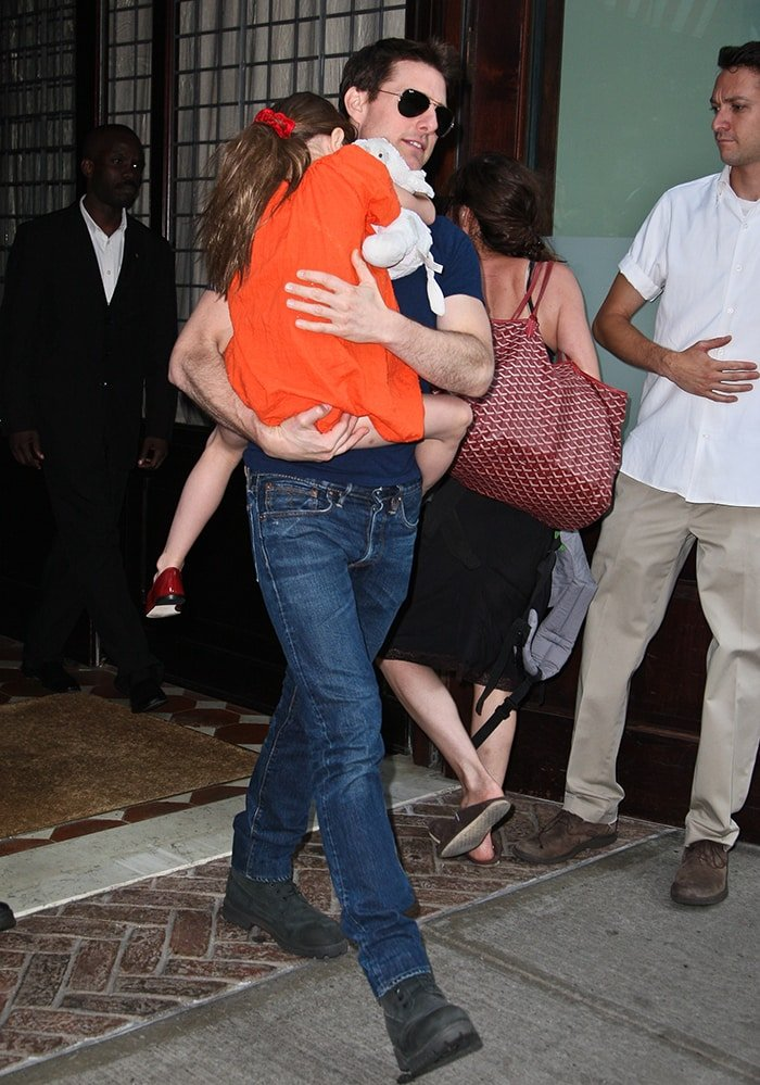 Tom Cruise pictured with his daughter at Greenwich Hotel in Manhattan on July 17, 2012