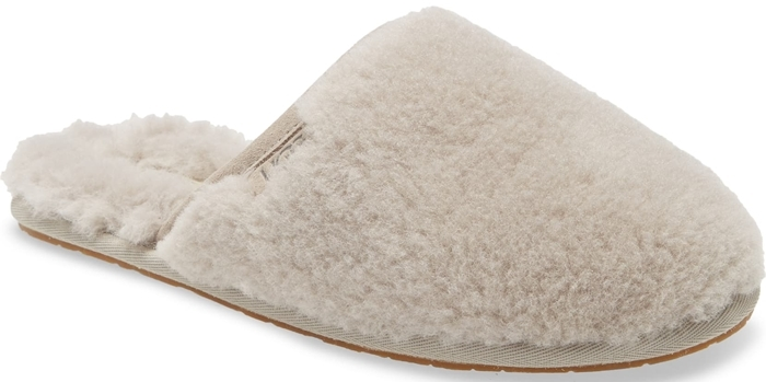 Lightweight and covered in plush natural wool, this cozy slipper is made for self-care Sundays around the house