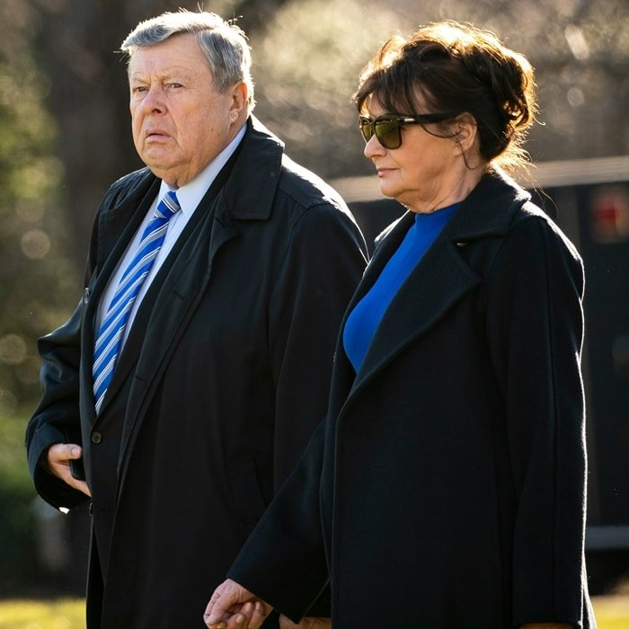 Melania Trump's parents, Viktor Knavs and Amalija Knavs, on the South Lawn of the White House