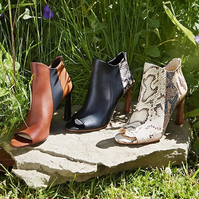 The Vince Camuto Aritziana bootie features a chic open-toe silhouette and has a zip closure at the heel for easy on-and-off wear
