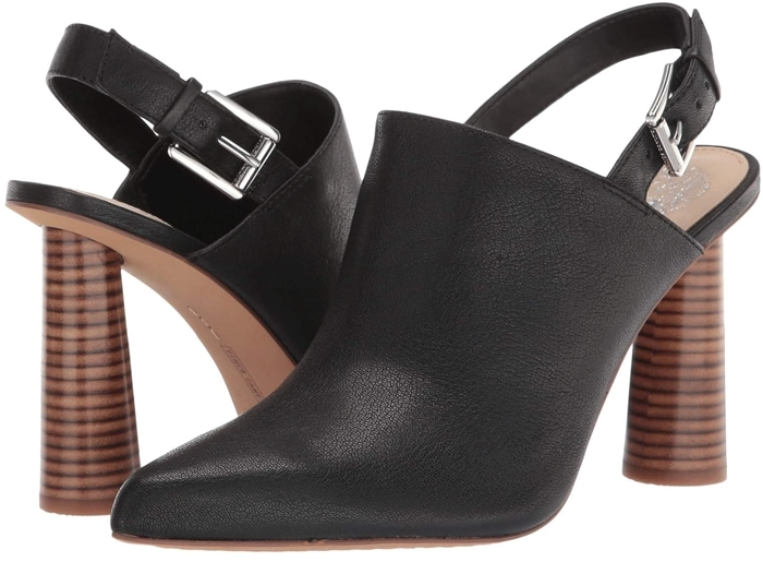 The Vince Camuto Korling heeled sandal has a leather upper that boasts an adjustable buckle closure and a pointed toe