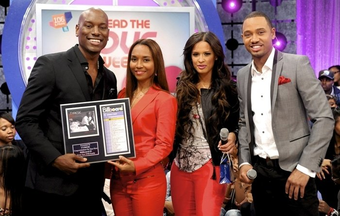 Tyrese Gibson, Rozonda 'Chilli' Thomas, and Rocsi Diaz visit BET's