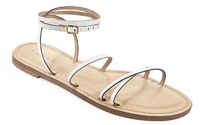 White Amanu Studio Style 12 Flat Sandals