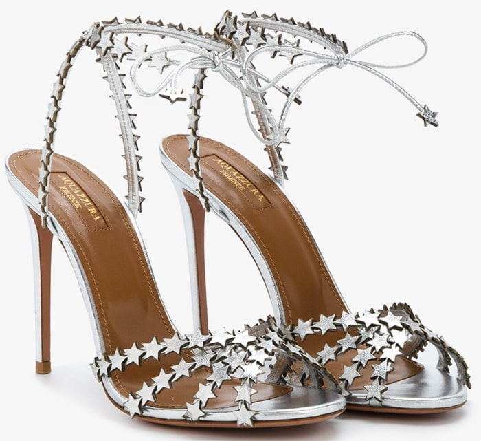 Aquazzura Silver Leather Starlight 105 Sandals