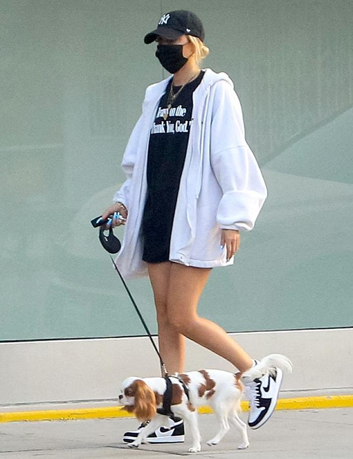 Ashley Benson walks her dog around Beverly Hills neighborhood on September 8, 2020
