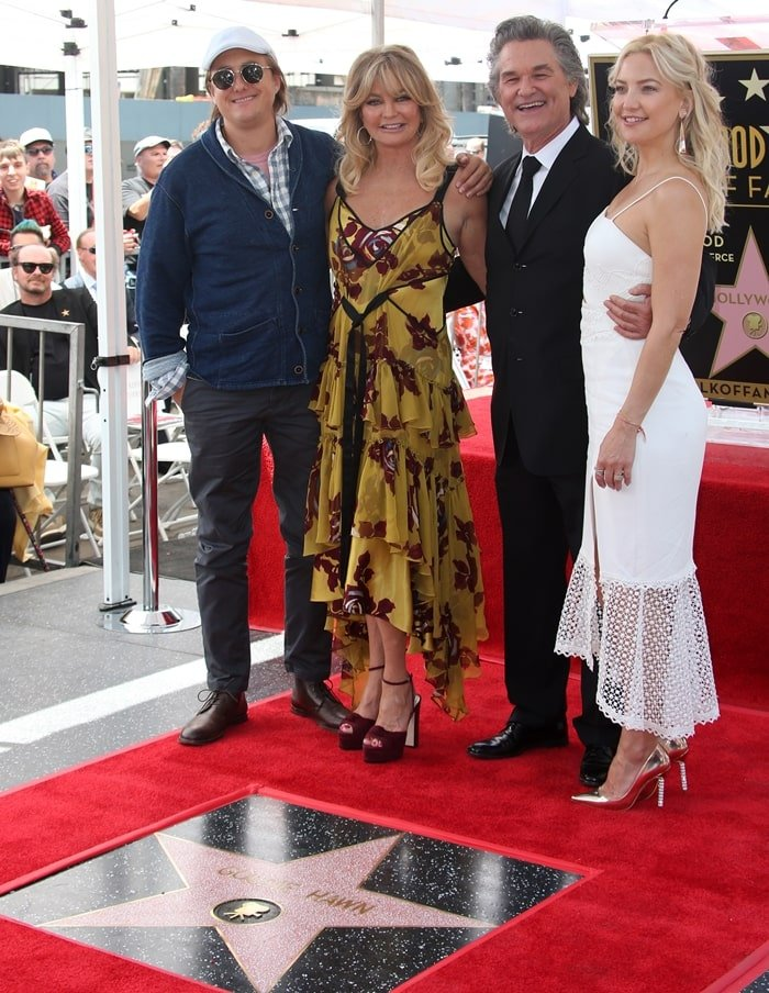 Boston Russell and Kate Hudson celebrate Goldie Hawn and Kurt Russell receiving their stars