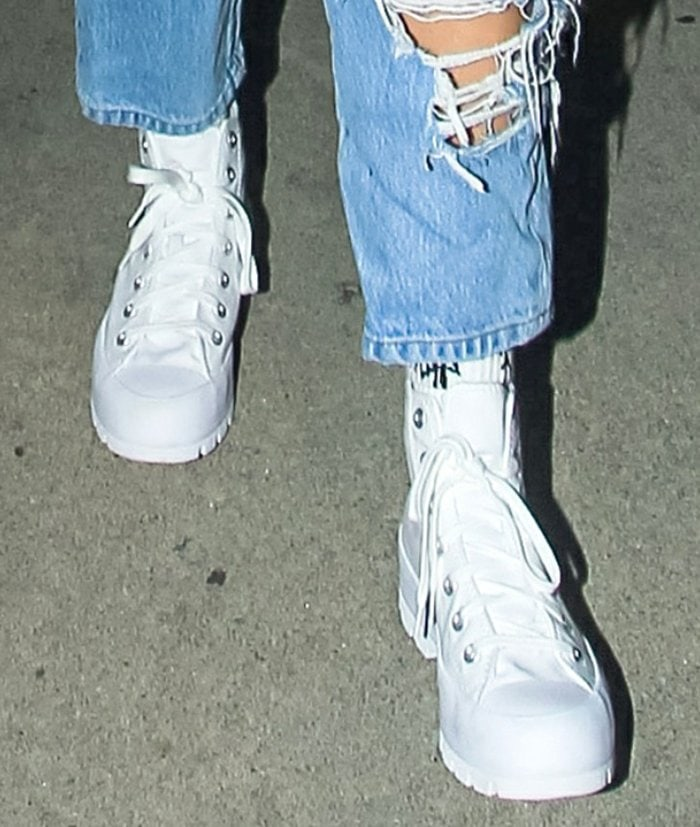 Charli D'Amelio completes her nightout look with Converse lugged platform sneakers