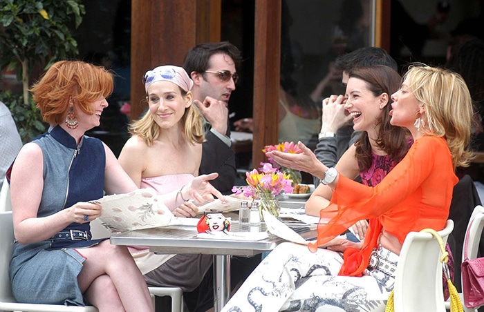 Cynthia Nixon, Sarah Jessica Parker, Kristin Davis, and Kim Cattrall on the set of Sex and the City in 2003