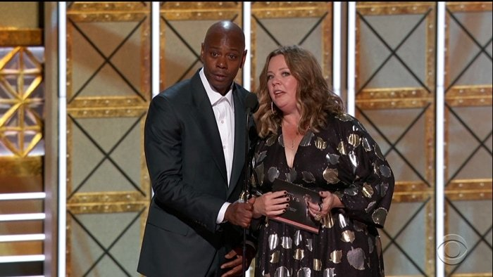 Dave Chappelle and Melissa McCarthy earned trophies for their appearances on Saturday Night Live at the 69th Annual Primetime Emmy Awards in 2017