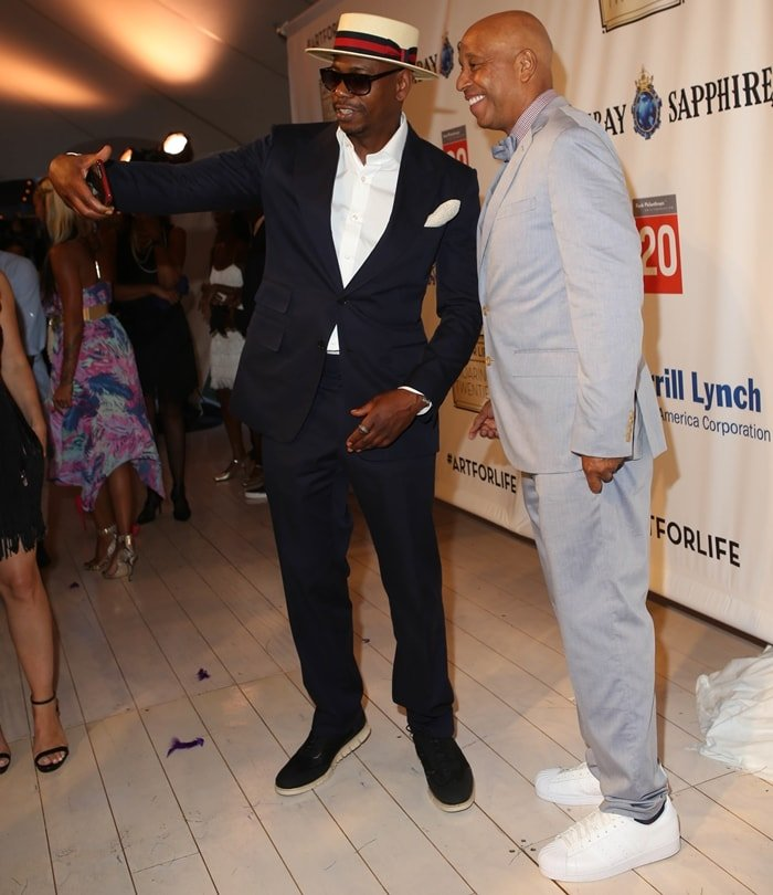 Dave Chappelle and Russell Simmons attend as RUSH Philanthropic Arts Foundation Celebrates 20th Anniversary at Art For Life