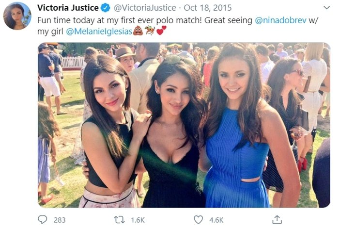 Nina Dobrev meeting her lookalike Victoria Justice and Melanie Iglesias at the sixth annual Veuve Clicquot Polo Classic