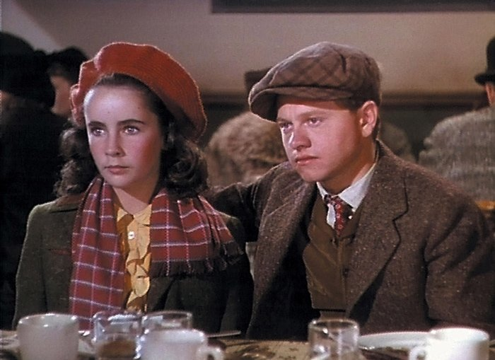 """Elizabeth Taylor (as Velvet Brown), Mickey Rooney (as Michael """"Mi"""" Taylor) in National Velvet, a 1944 American Technicolor sports film directed by Clarence Brown"""