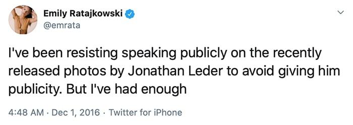 Emily Ratajkowski opposes the publication of Jonathan Leder's book containing her photos