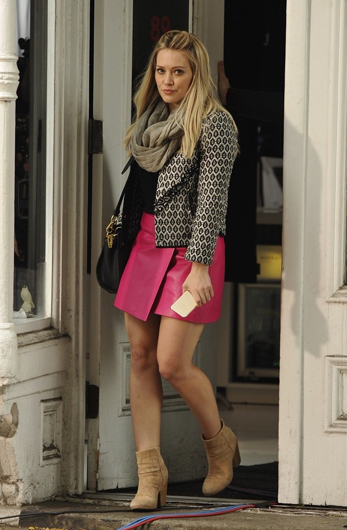 Hilary Duff pictured in 2014 on the set of Younger in New York City