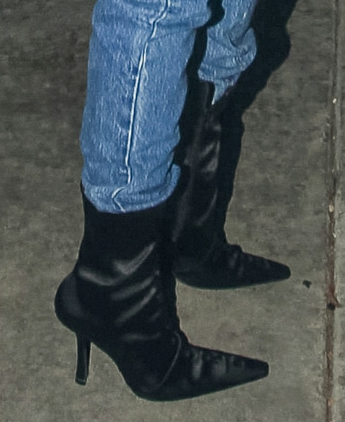 Hailey Bieber teams her outfit with Alexander Wang Vanna pointed-toe boots