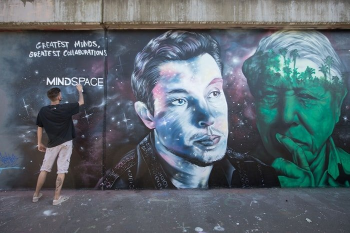 Iconic mural of David Attenborough and Elon Musk appears in Shoreditch