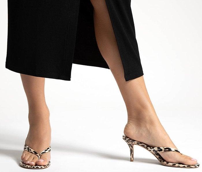 Leopard Print Inez Kitten Heel Sandals