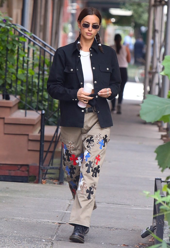 Irina Shayk opts for '90s-style outfit as she runs errands in the West Village, New York City on September 18, 2020