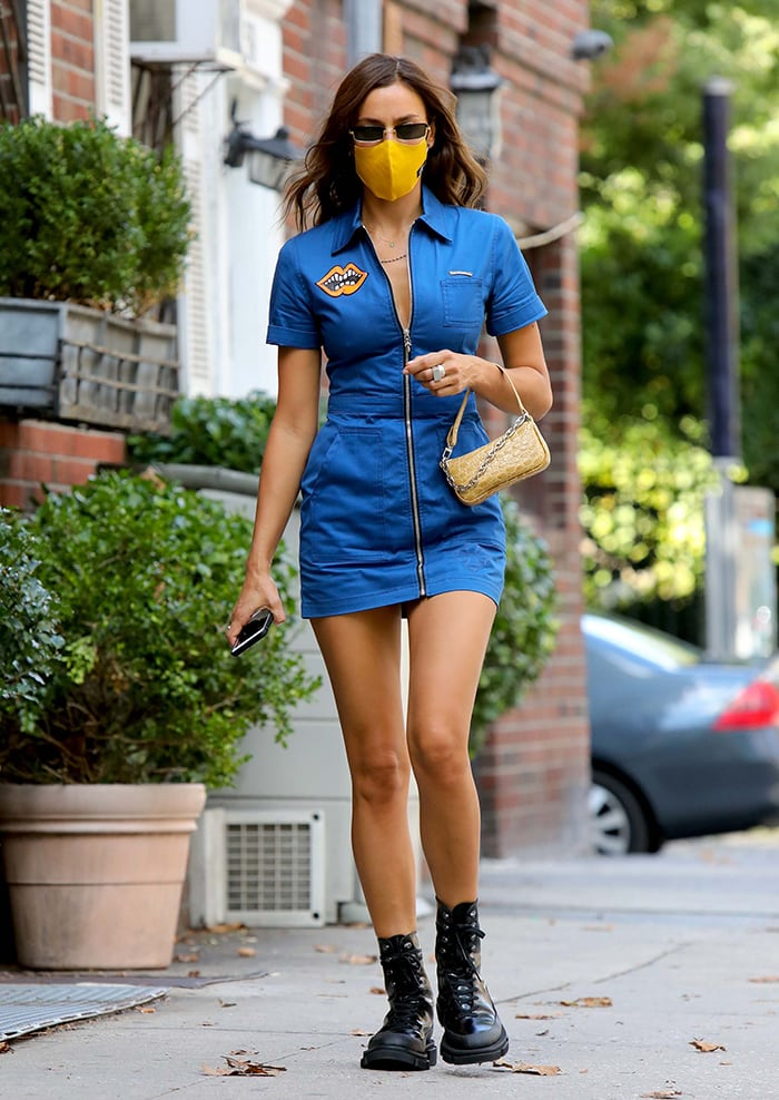 Irina Shayk strolls through Downtown, New York City on September 4, 2020