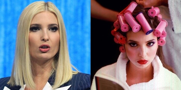 Ivanka Trump while giving a speech in January 2020 (L) and as a young model (R)