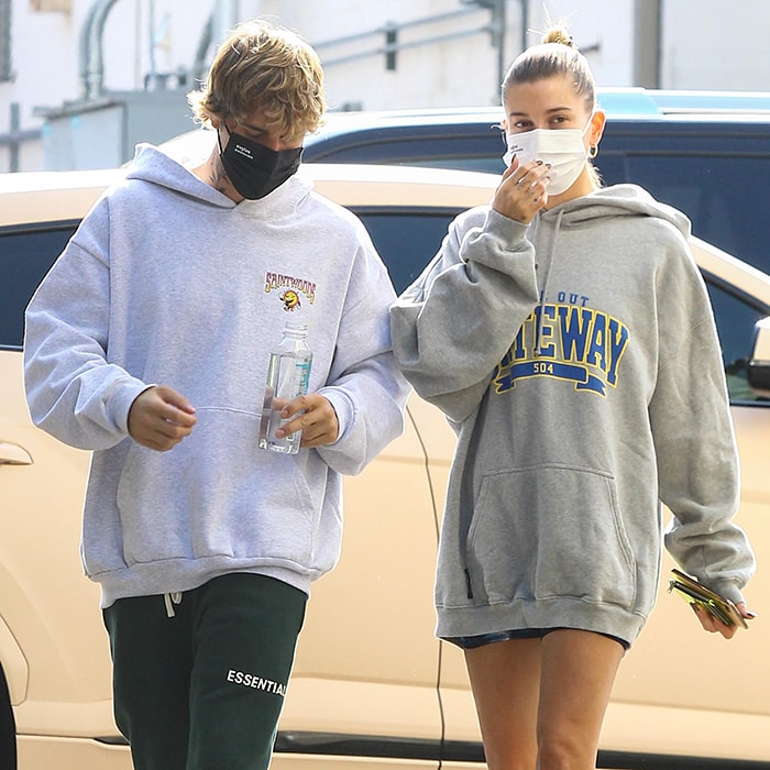 Justin and Hailey Bieber wear face masks from EvolveTogether to prevent coronavirus spread