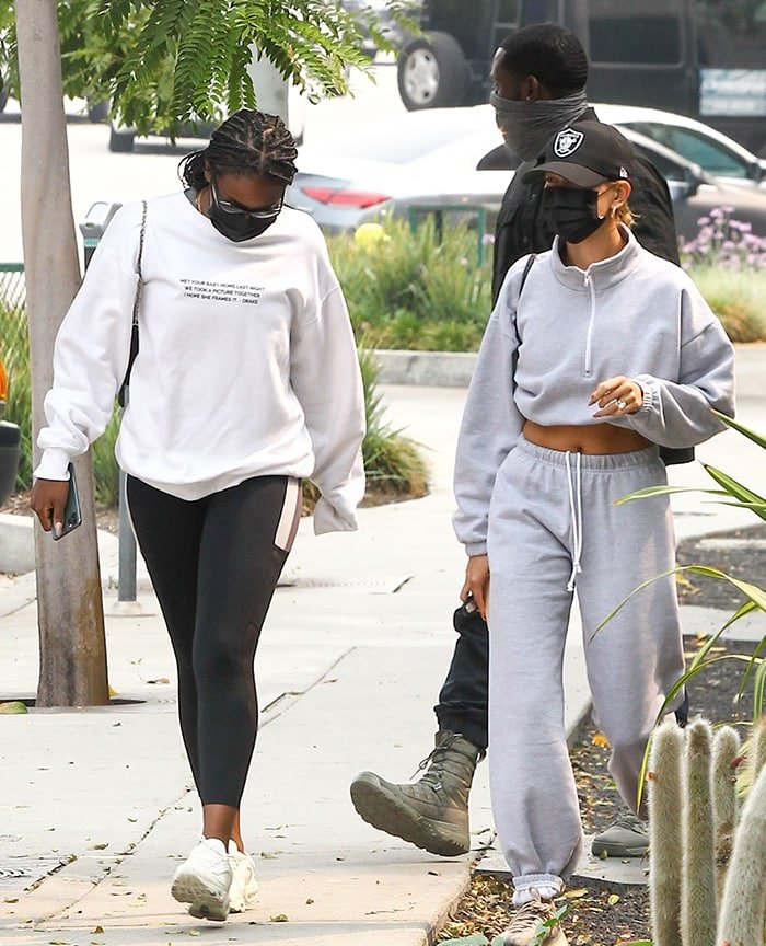Hailey Bieber and Justine Skye stepped out to grab lunch after a workout session in West Hollywood
