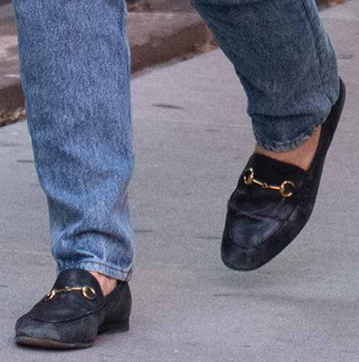 Katie Holmes completes her fall outfit with black Gucci loafers