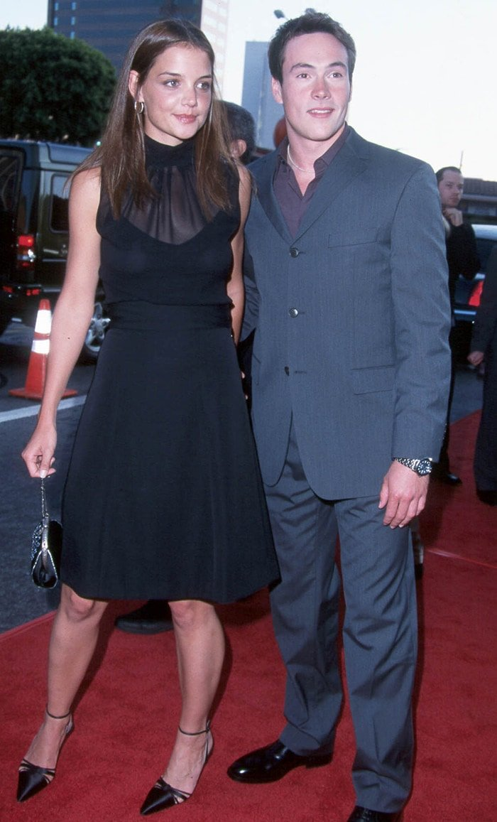 Katie Holmes and Chris Klein pictured in 2001 at the premiere of American Pie 2