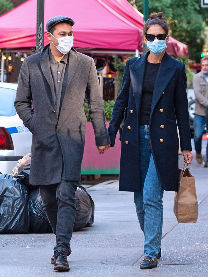 Emilio Vitolo Jr. and girlfriend Katie Holmes holding hands while on a stroll in New York City on September 22, 2020