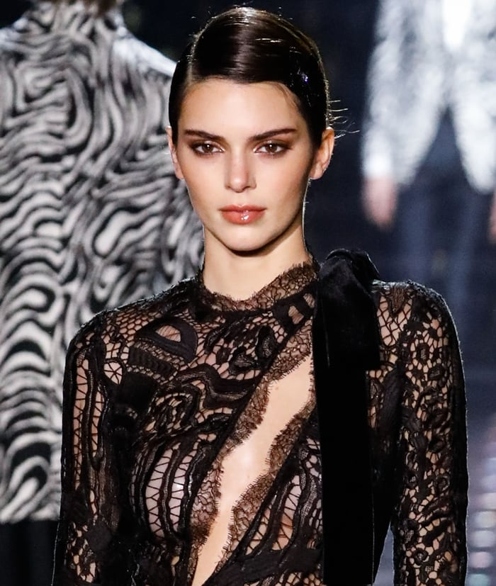 Kendall Jenner walks the runway at the Tom Ford: Autumn/Winter 2020 Fashion Show held at Milk Studios
