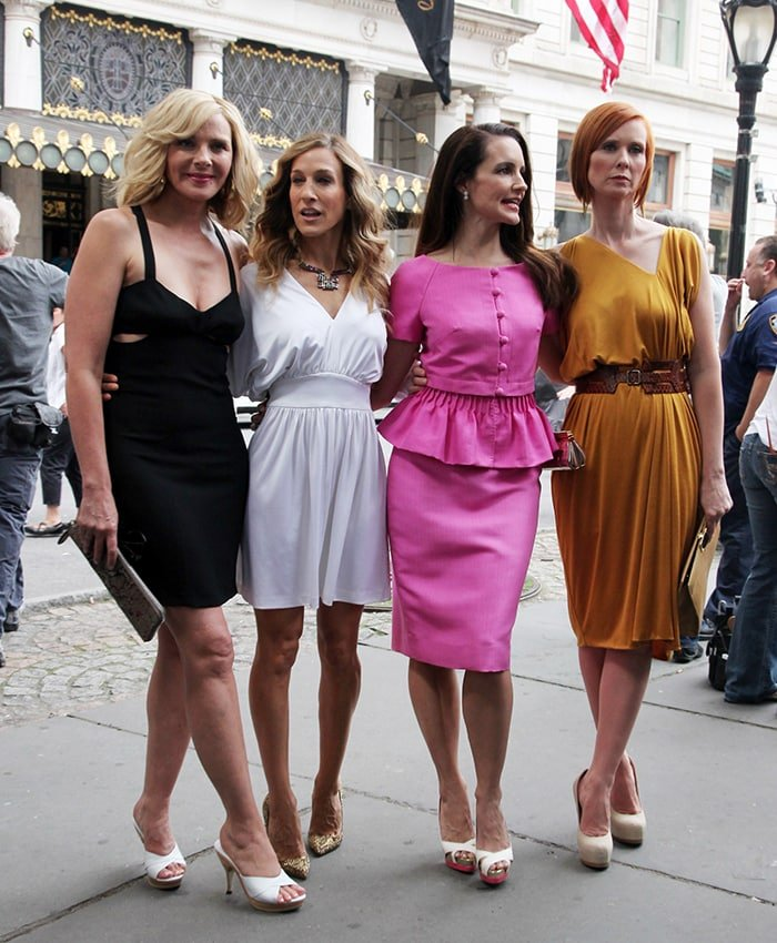 Kim Cattrall, Sarah Jessica Parker, Kristin Davis, and Cynthia Nixon reunite on the set of Sex and the City 2 on September 8, 2009
