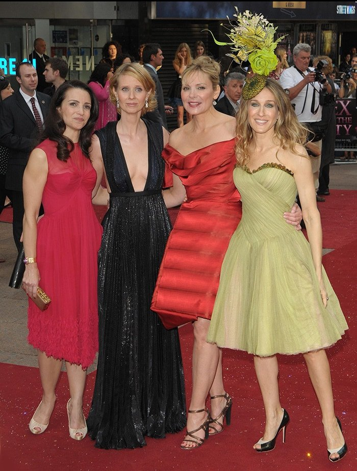 Kristin Davis, Cynthia Nixon, Kim Cattrall and Sarah Jessica Parker at the Sex And The City movie UK film premiere in May 2008