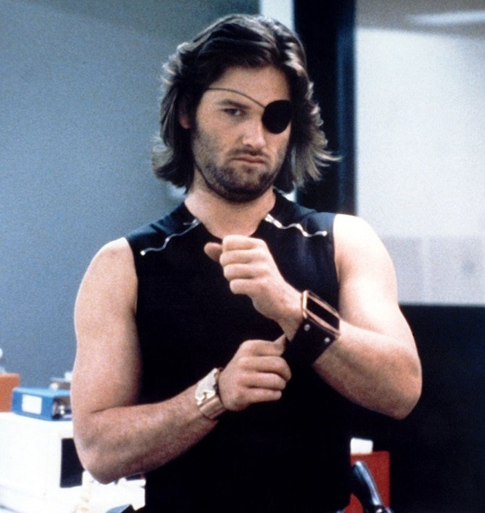 """Kurt Russell with an eyepatch as S.D. """"Snake"""" Plissken in Escape from New York, a 1981 American science fiction action film"""