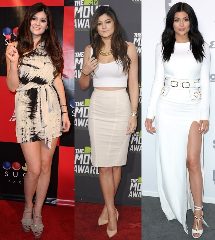 Kylie Jenner in March 2011 (L), April 2013 (C), and May 2015 (R)