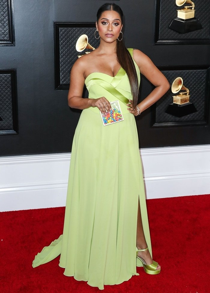 Lilly Singh wearing a Georges Chakra dress with Hearts on Fire and Lark & Berry jewelry at the 62nd Annual GRAMMY Awards