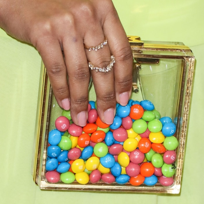 Lilly Singh's clear Marzook Official handbag filled with Skittles