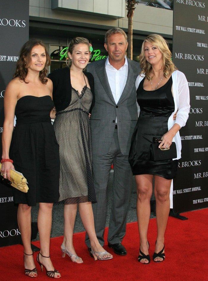 Lily Costner, Annie Costner, Kevin Costner, and his wife Christine Baumgartner