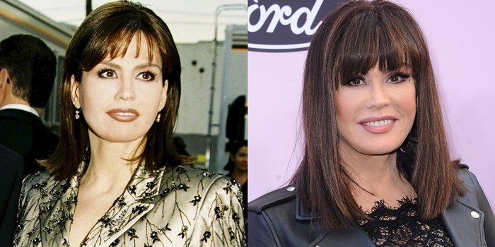 Side comparison of Marie Osmond in 1999 (left) and again in 2020 (right)