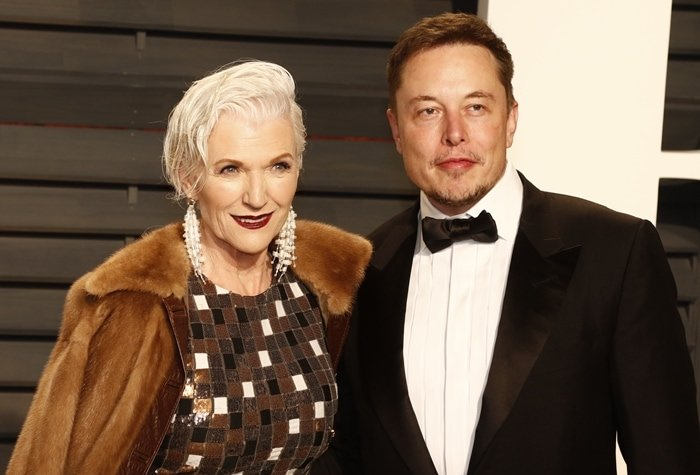 Maye Musk and her son Elon Musk attend the 2017 Vanity Fair Oscar Party