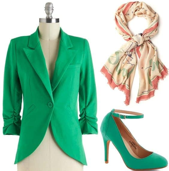 Green blazer with high heels pumps and scarf