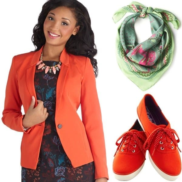 Tangerine blazer with scarf and sneakers